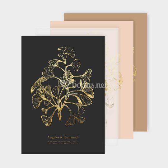Invitaciones doradas Biloba