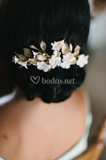 Tocado novia white & gold