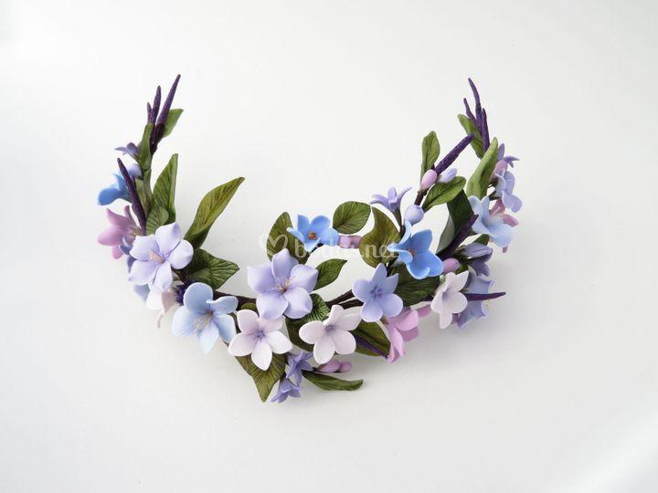 Tocado de novia flores azules