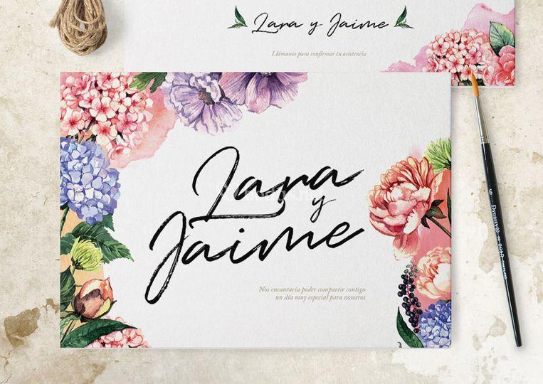 Invitación con detalles florales