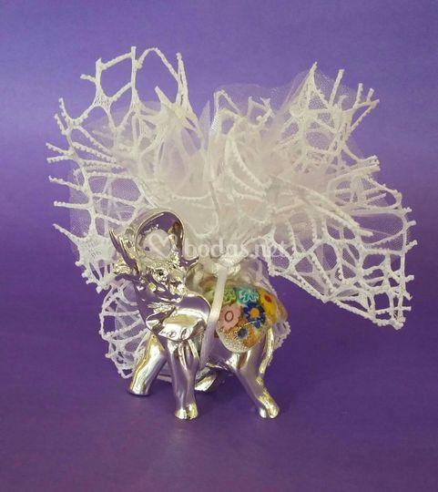 Elefante de plata y murano