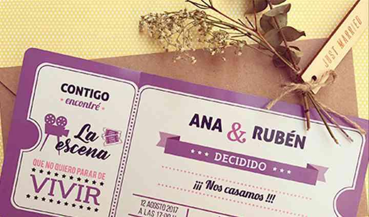 Invitación boda ticket de cine
