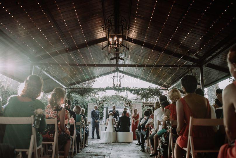 Ceremonia en el porche bohemio
