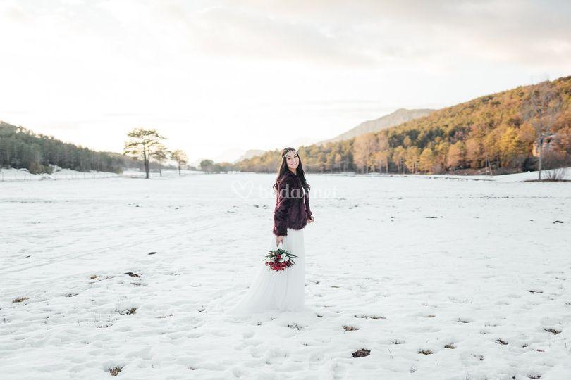 Novia con nieve