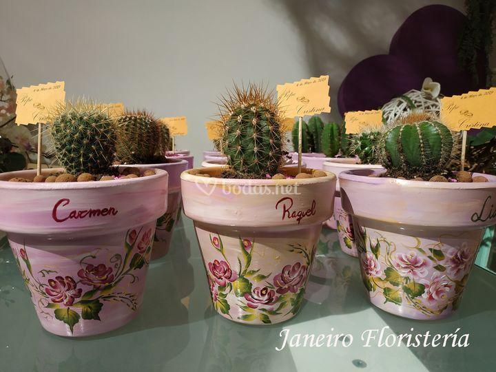 Maceta pitada con cactus