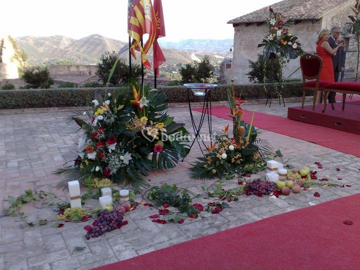 Decoración para la ceremonia