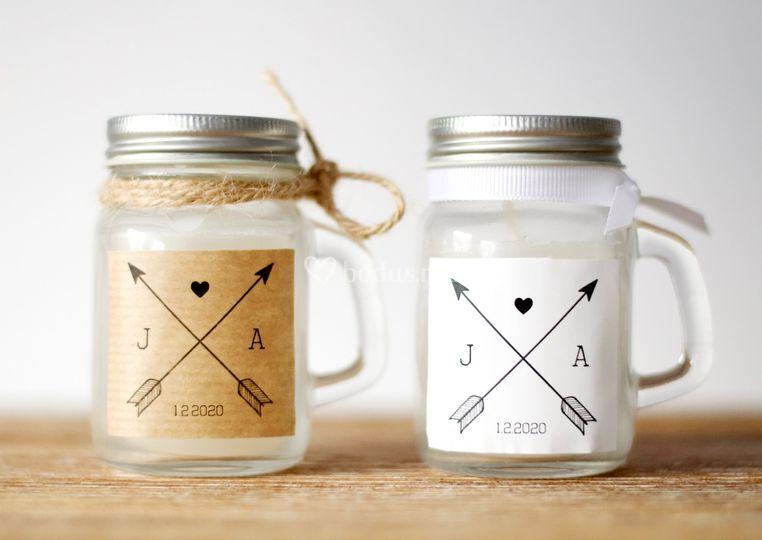 Regalos boda mini vela cristal