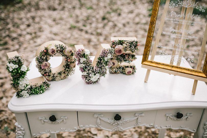 Letras con flores