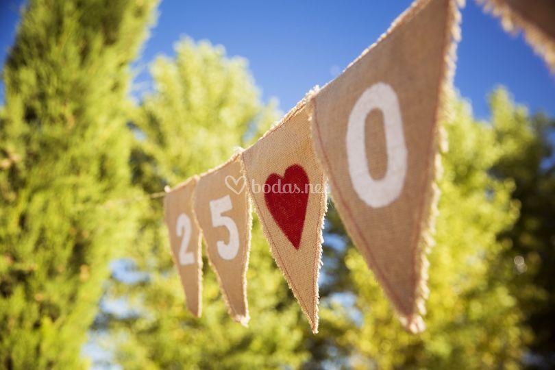 Banderines con la fecha