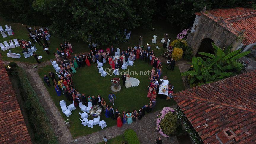 Corazón con los invitados