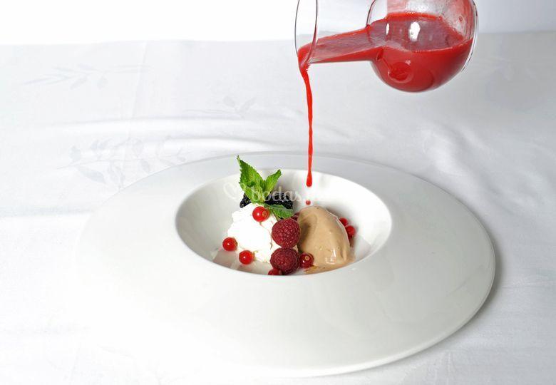 Sopa de frutos rojos detalle