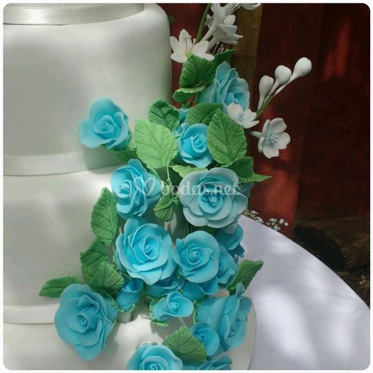 Detalles de flores de azúcar