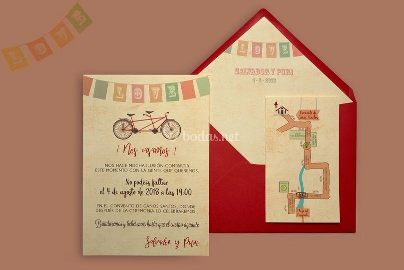 Invitación vintage con sobre rojo