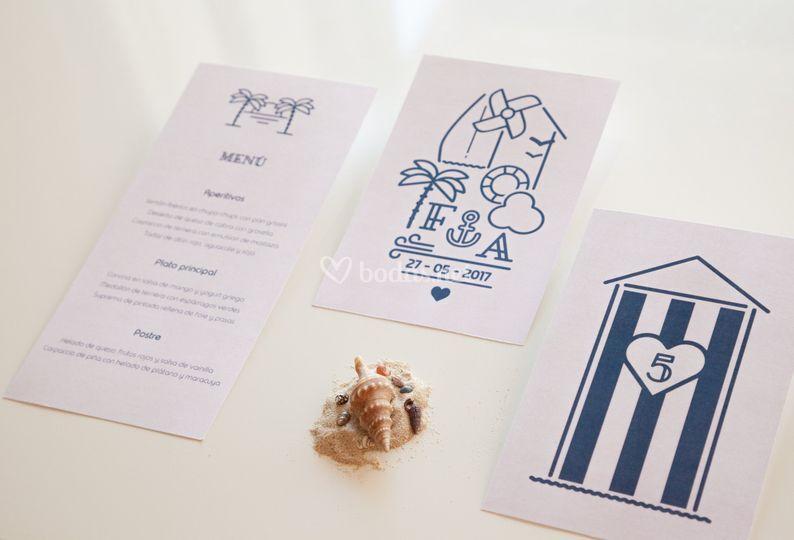 Invitación y menú marineros