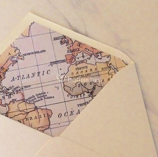 Sobre forro mapa vintage