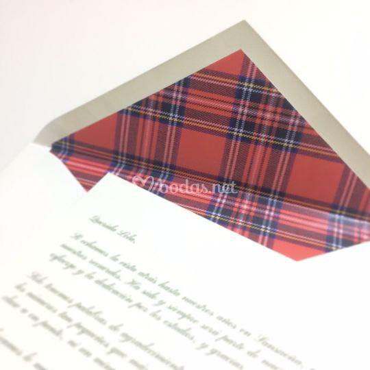 Sobre forro escocés+tarjetón