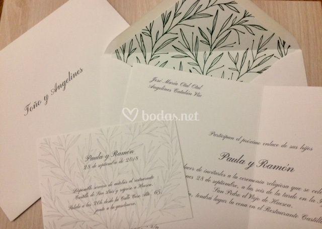 Invitación olivo+caligrafía