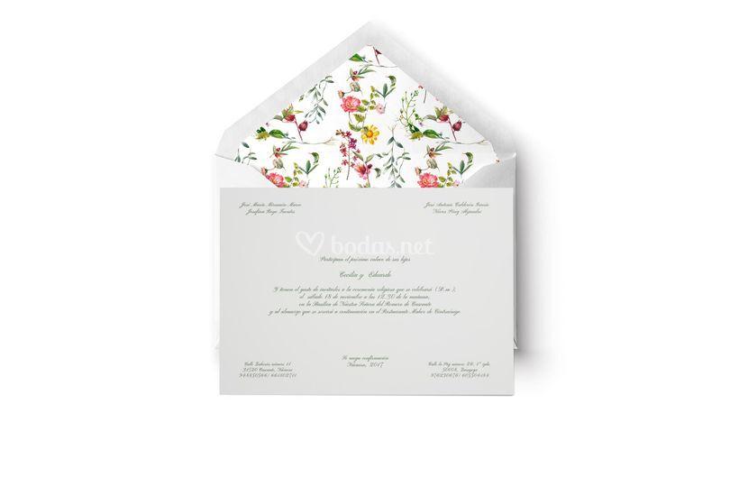 Invitación flores y tarjetón