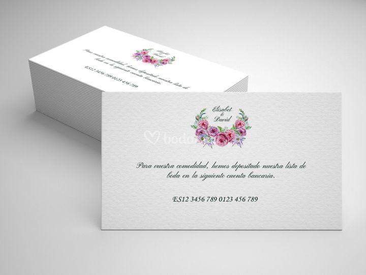 Modelo tarjeta lista de boda