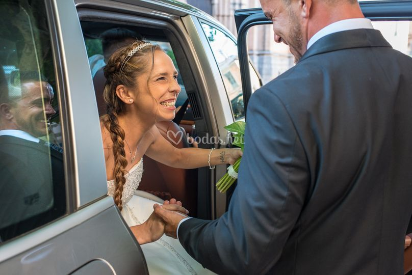 Llegada novia boda mallorca