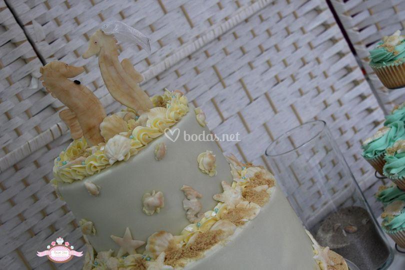 Tarta de boda estilo marino