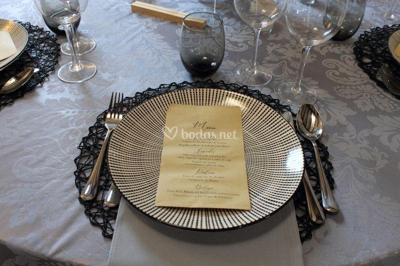 Detalle minuta mesa banquete