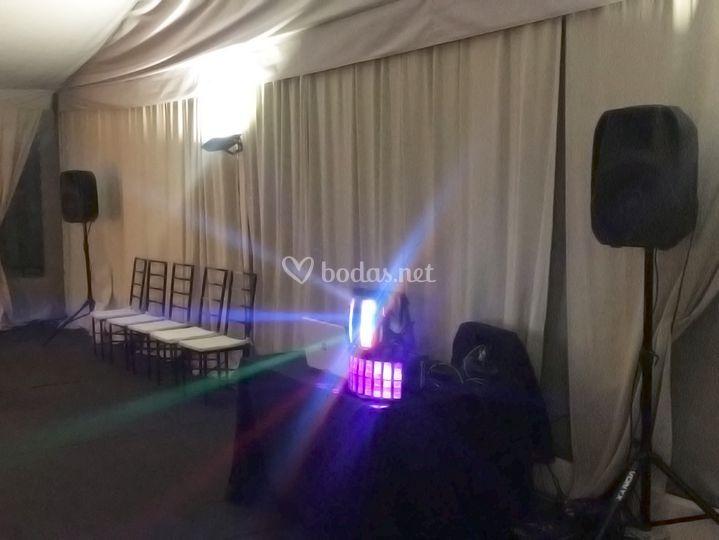 Iluminación y sonido para boda