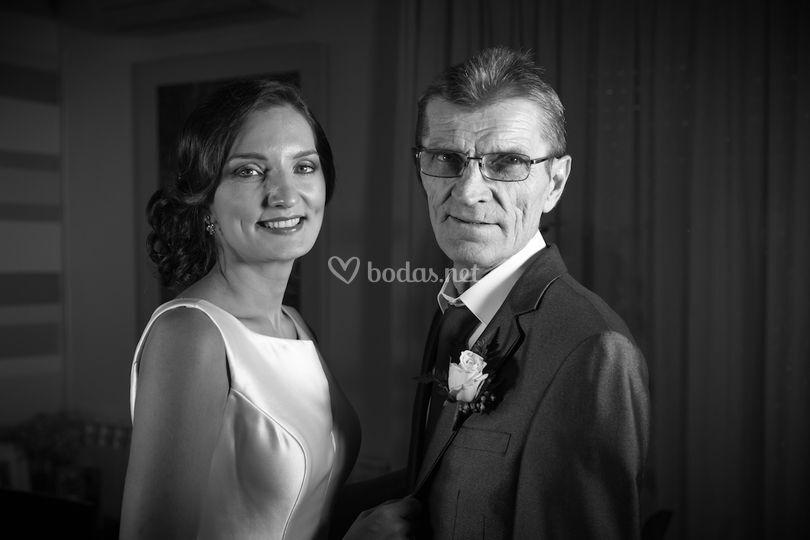 Retrato de novia y su padre