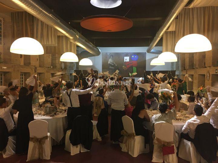 Fiesta durante el banquete