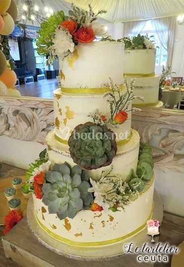 Tarta boda crasas y suculentas