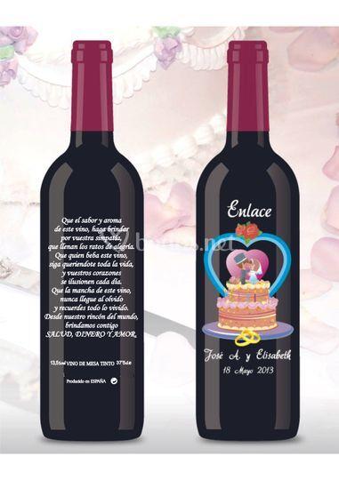 Botella de Vino para Boda