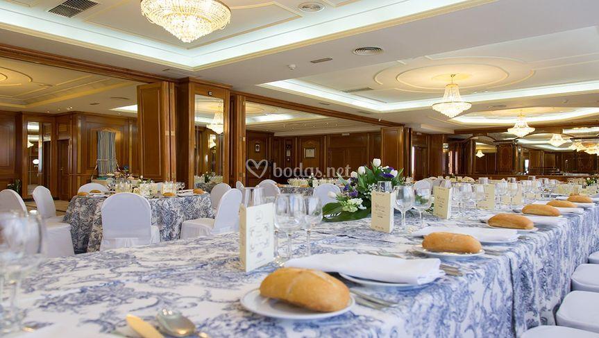 Detalle boda mantel azul