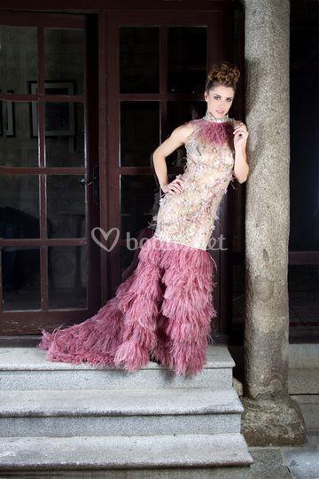 Vestido novia tonos rosas