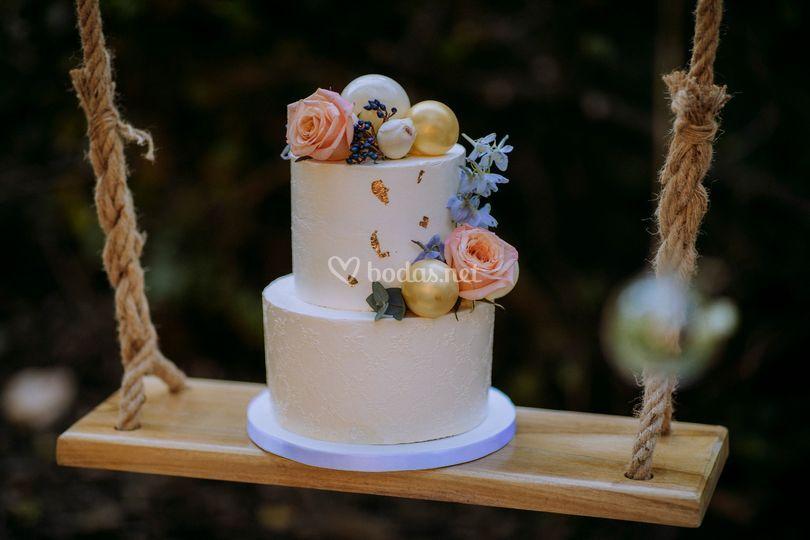 Boho, tarta de boda romántica