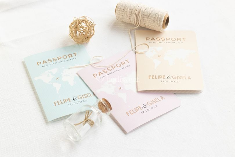 Invitación de boda Passport