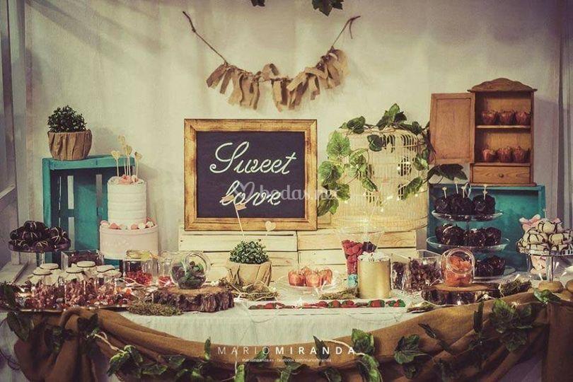 Mesa dulce de estilo rustico