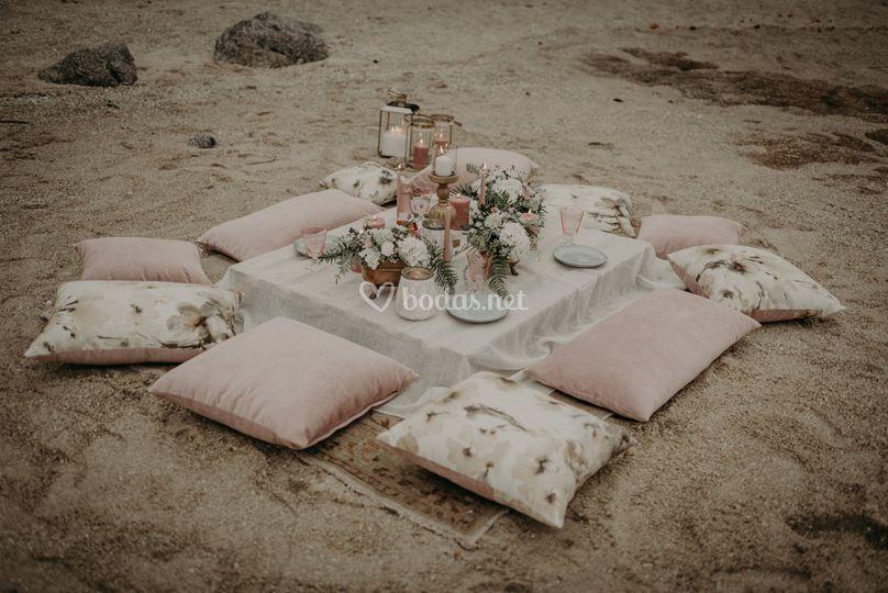 Montaje aperitivo en la playa