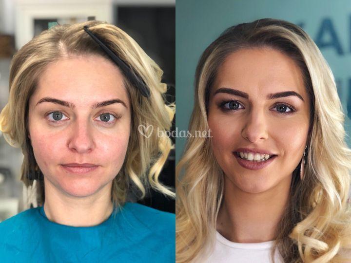 Maquillaje y peinado de día