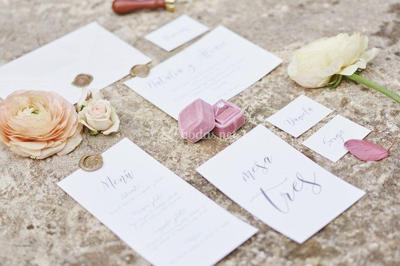Papelería boda sencilla