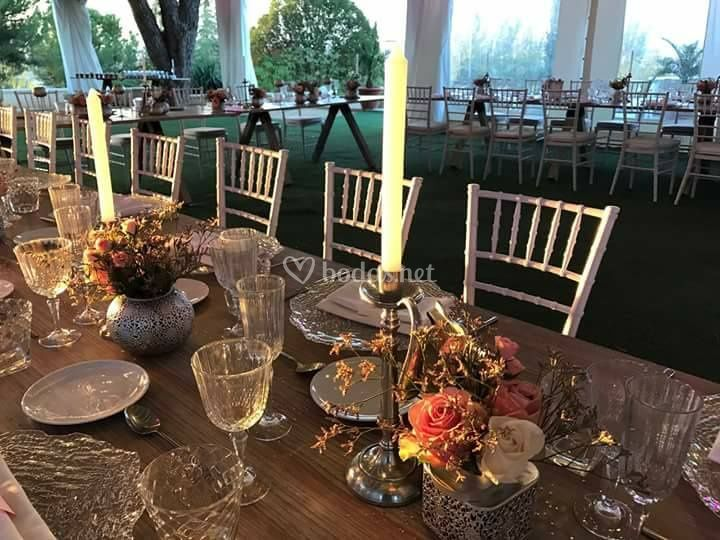 Montaje elegante para banquete