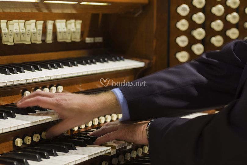 Organista en ceremonia en iglesia