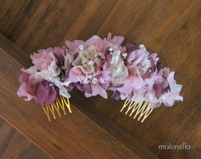Tocado novia flores preservada