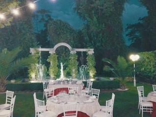 Banquete exterior con fuente