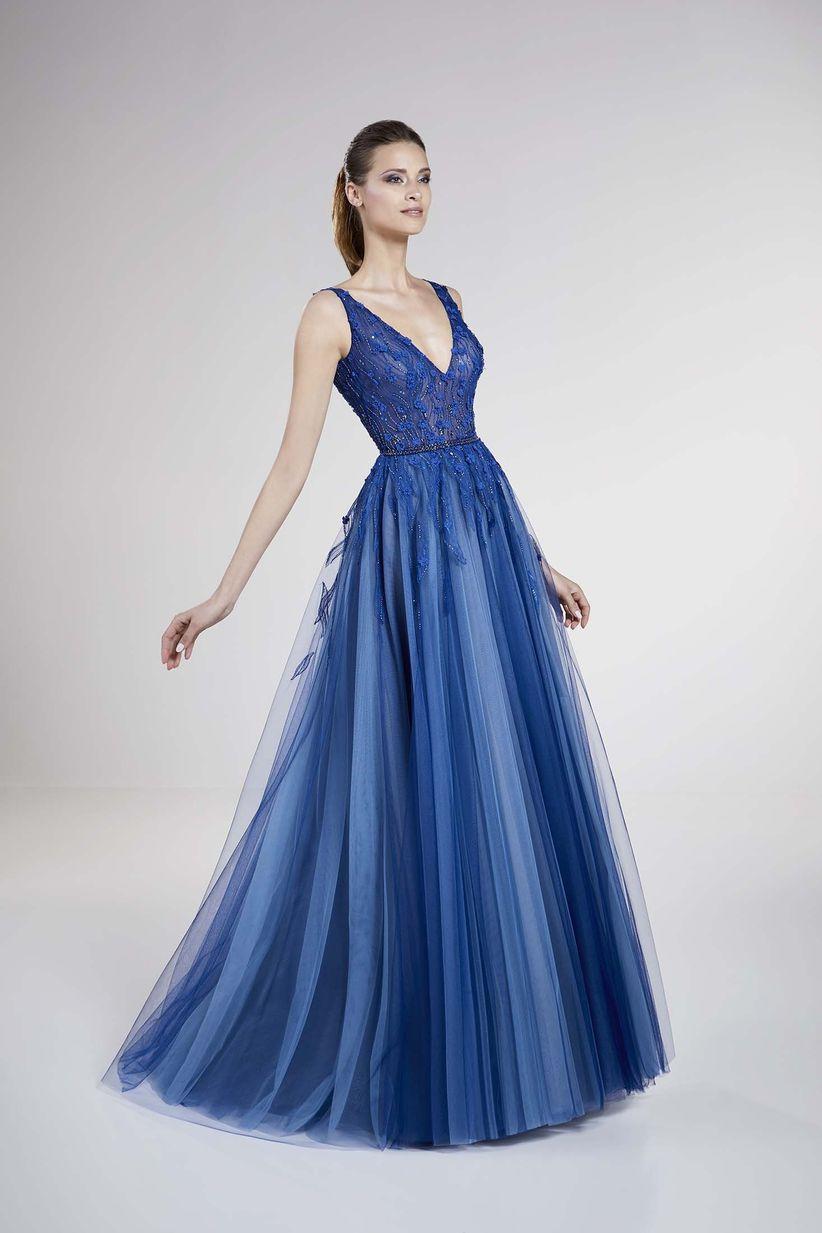 Vestidos de noche azul petroleo