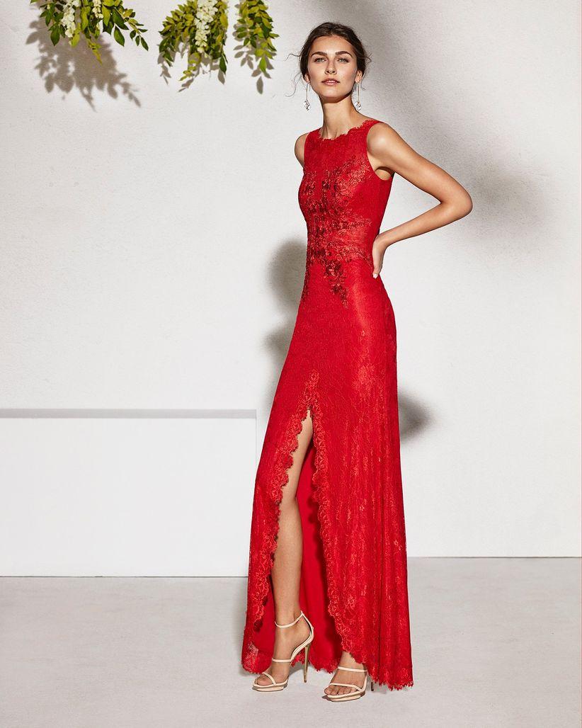Vestido rojo con negro largo