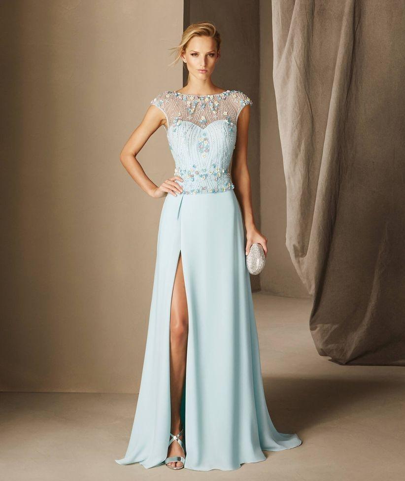 Modelos de vestidos largos color agua marina