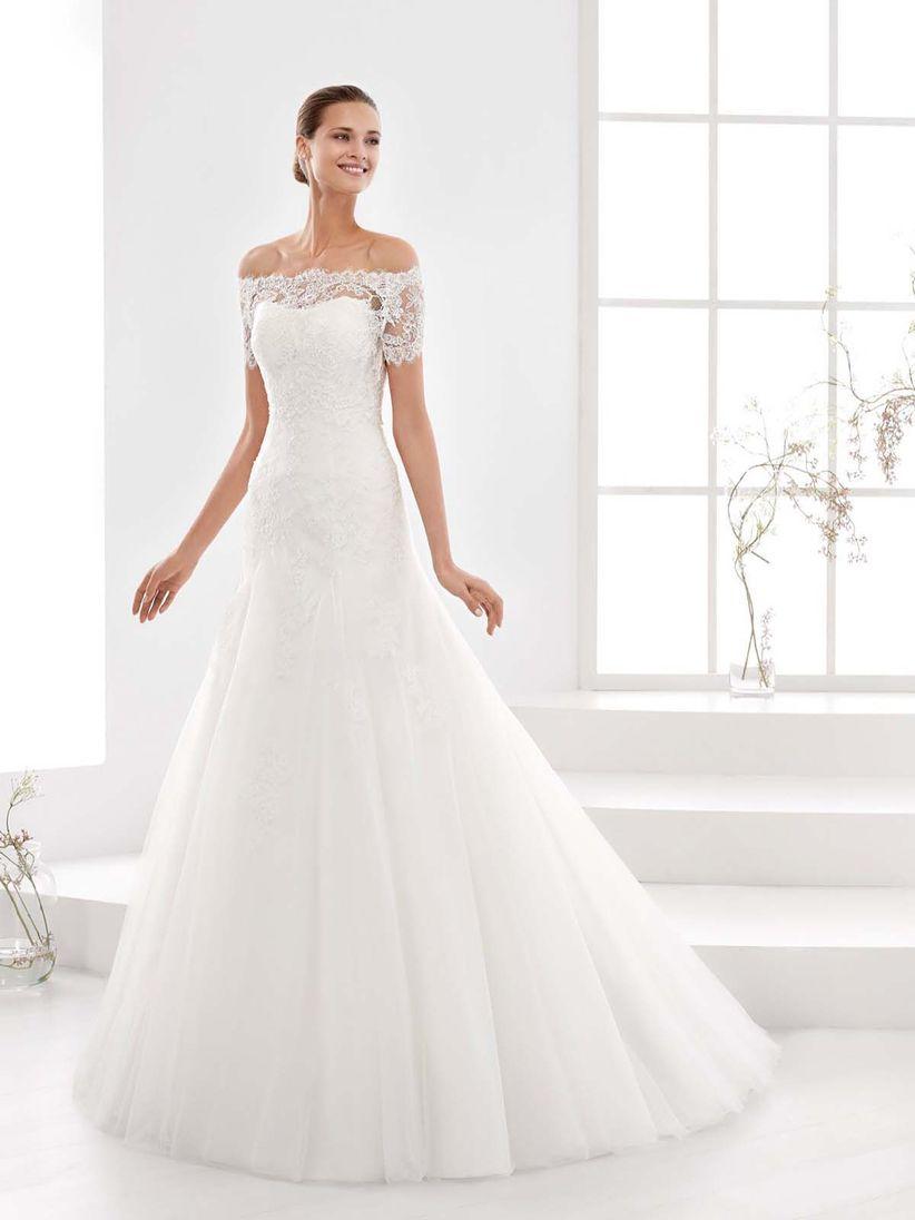 Vestido de novia sencillo manga larga