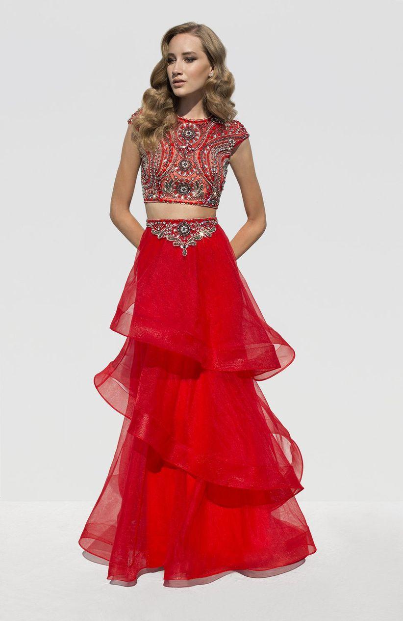 Abrigo para vestido de fiesta rojo