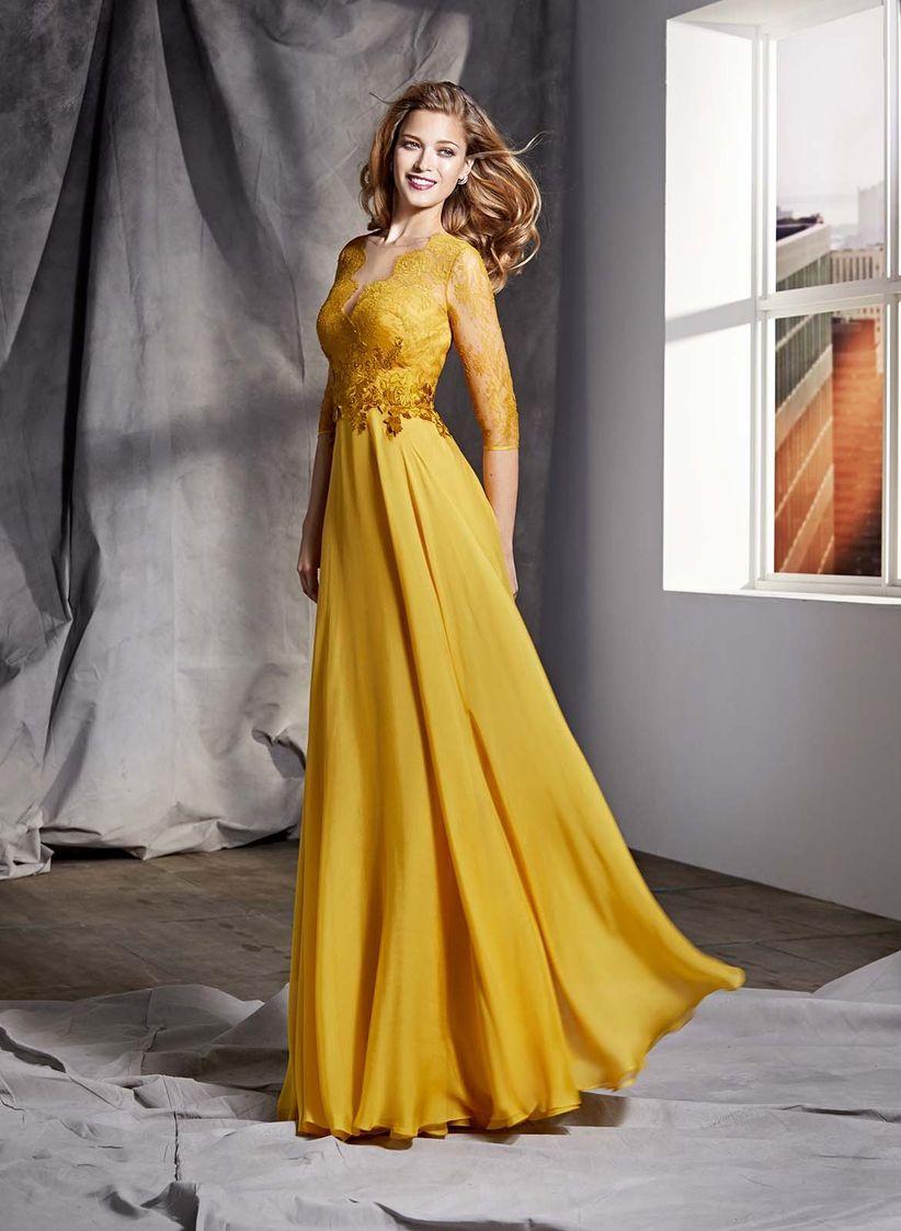 Vestidos de noche color mostaza