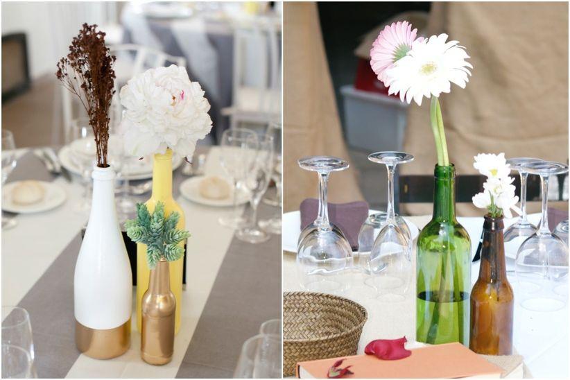 Centro de mesa con botellas centros de mesa diy ideas - Centros de mesa con botellas ...